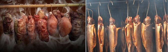 Копчение мяса, рыбы