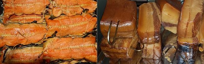 Копченое сало, рыба